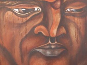 an essay by fer de la cruz_Painting Juan Pablo Bavio detail from  CABEZA CANSADA